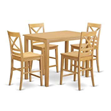 Strange East West Furniture Yaqu5 Oak W 5 Piece Pub Table And 4 Counter Height Dining Chair Set Gmtry Best Dining Table And Chair Ideas Images Gmtryco