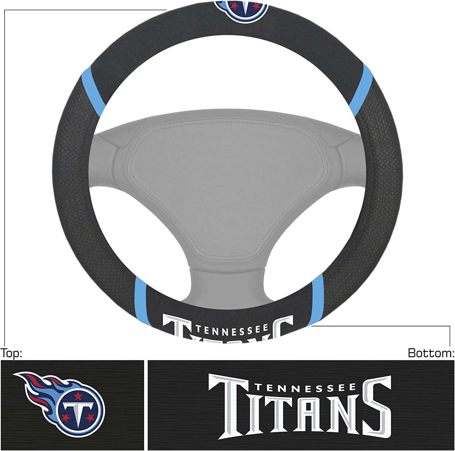 Tennessee Titans Black Universal 15 Diameter Embroidered Steering Wheel Cover FANMATS 21388 NFL
