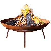 Outdoor Fire Pit-Grillz 60cm Fire Pit Bowl Portable Camping Backyard Garden