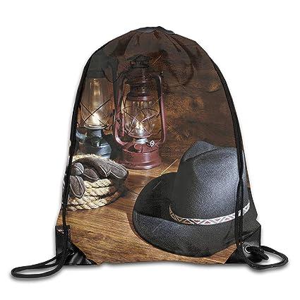 Amazon.com | Western American Cowboy Felt Hat Drawstring ...