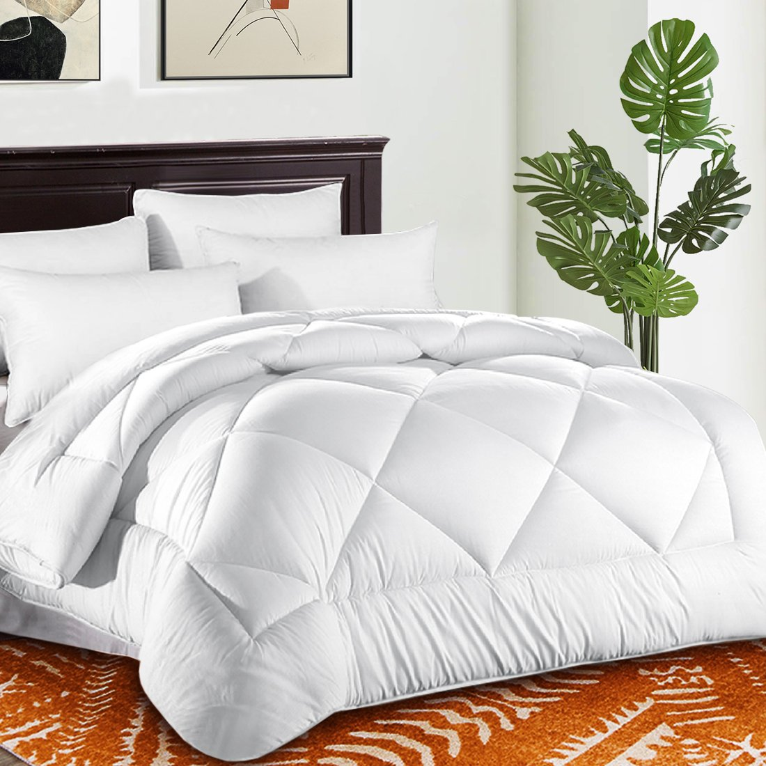 TEKAMON Queen Comforter Soft Quilted 3D Down Alternative Duvet Insert with Corner Tabs 2200 Series,Luxury Fluffy Reversible Hotel Collection,Hypoallergenic for All Season, White, 88'' x 88''