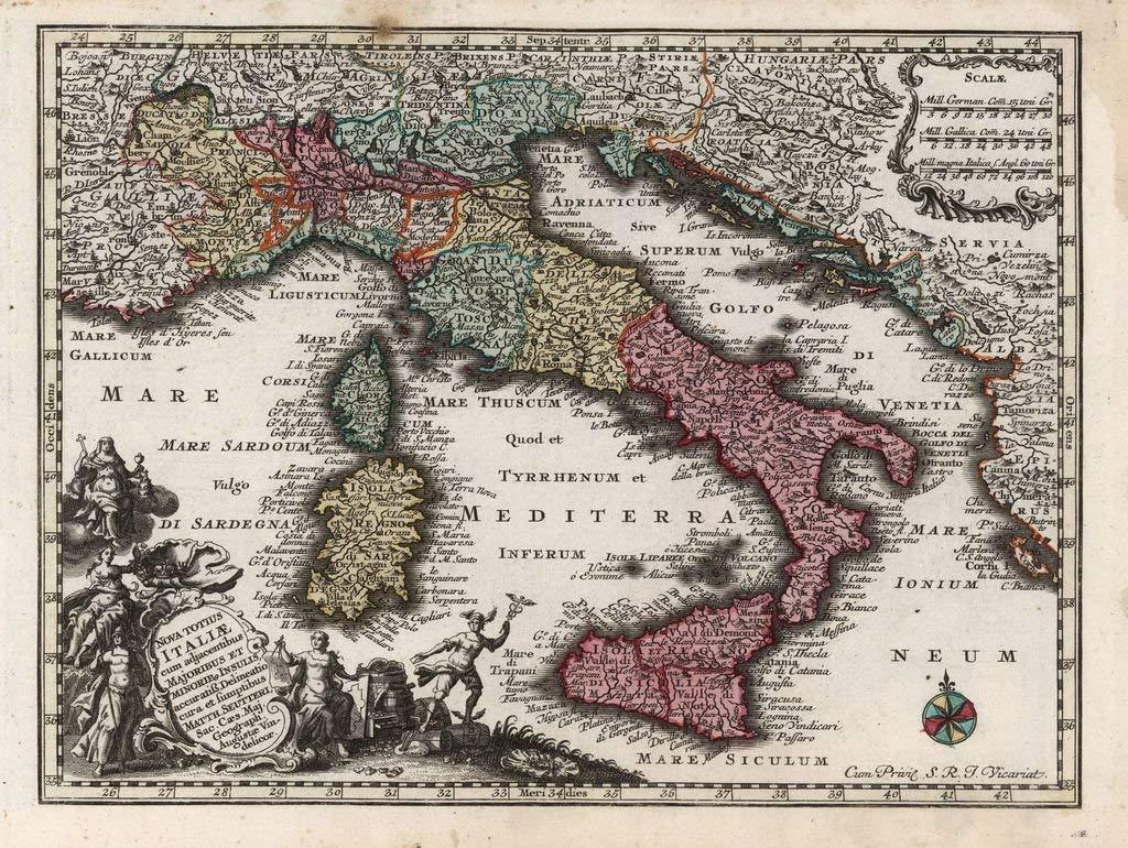 Lais Puzzle Matthauml;us Seutter - Atlas para el Nuevo Entrenador (1744) - Italiana (Italia) - Circuit de Motivos 2000 Piezas