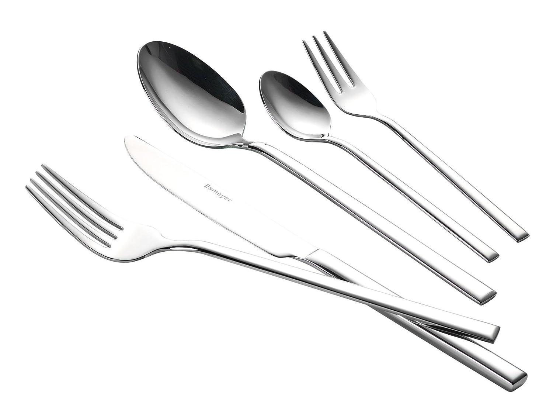 Esmeyer 199-830 60-Teiliges Besteckset Sophie, Poliert im Geschenkkarton, Chrom-Nickel-Edelstahl 18/10, Silber, 45 x 29 x 2 cm