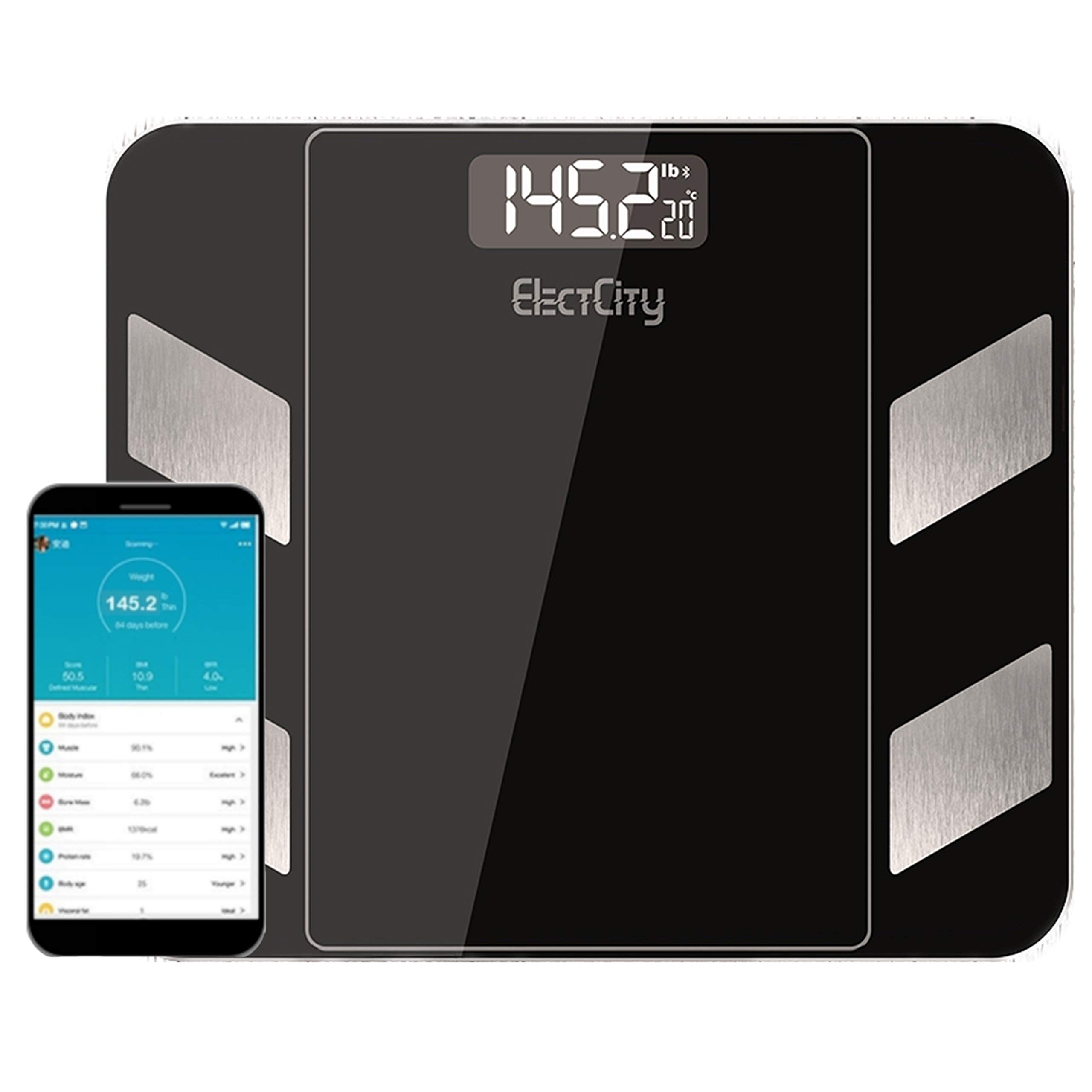 ElectCity Bluetooth Body Fat Scale Smart BMI Scale Digital Bathroom Weight Scale 18 Body Composition Analyzer Most Accurate Scale for Health and Fitness FDA Approved Free iOS and Android App 396 lbs by ElectCity