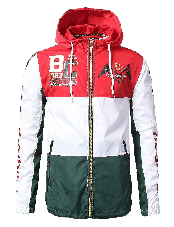 URBANCREWS Mens Hipster Hip Hop Pullover Hooded Anorak Windbreaker Jacket