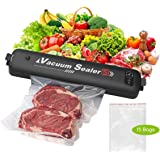 CkeyiN Vacuum Sealer Machine, Automatic Food Sealer for Keeping Dry & Moist Food, One-Touch Food Saver Suitable for Camping a