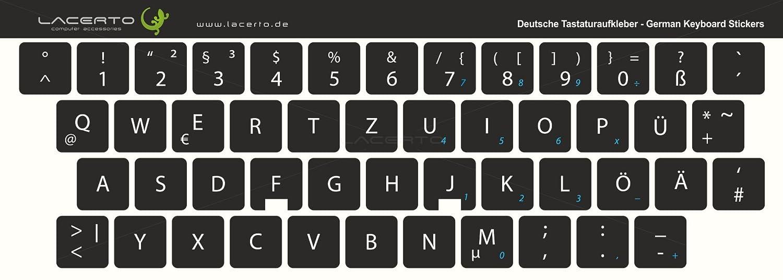 Pegatinas de teclado alemán de Lacerto para teclados de PC y portátil, diversos tamaños, con protección de mate laminado. negro Negro 14x14 mm: Amazon.es: ...