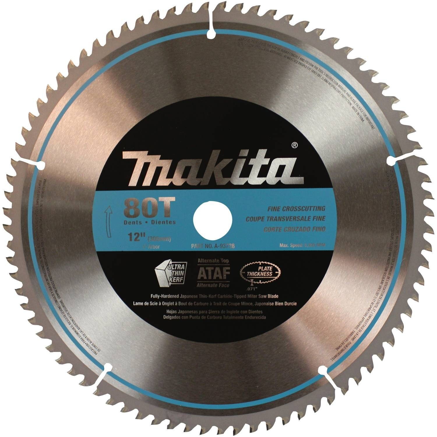 Makita A-93728 12-Inch 80 Tooth Micro Polished Mitersaw Blade by Makita