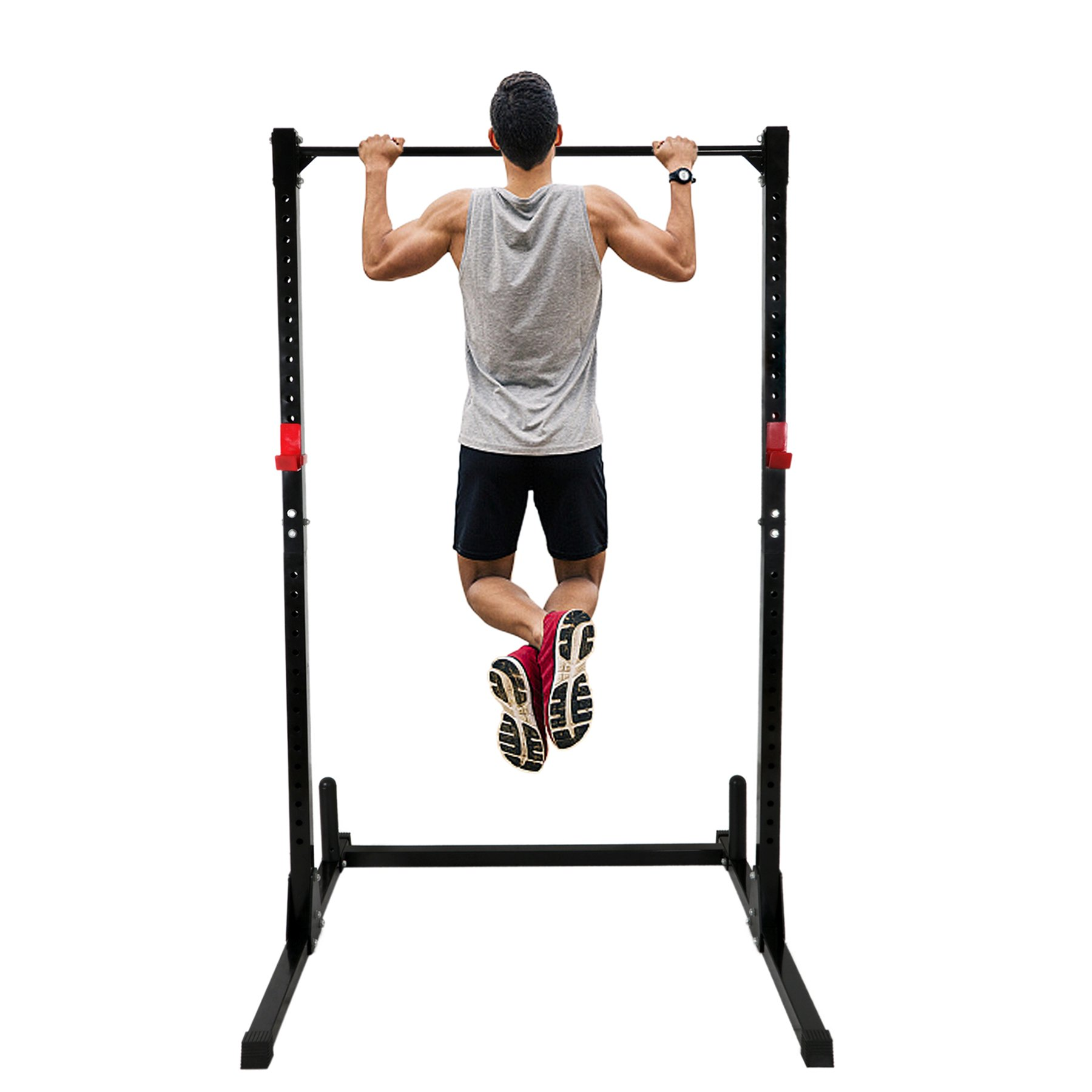 F2C Adjustable Height Power Squat Rack Cage Stand System Strength Deadlift Power Lifting Weightlifting Rack W/ Pull Up Bar Exercise Stand Squat Rack Bench Curl Weight Stand by F2C