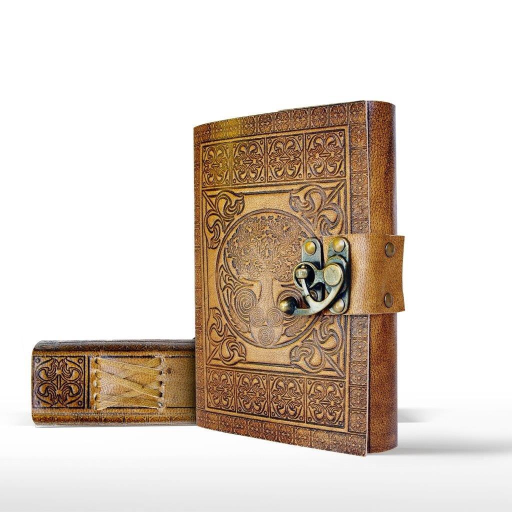 Papier khadda en coton recyclé – Beau livre à offrir ou pour écrire ses aventures Carnet de voyage celtique estampé Motif original de l'arbre de vie Carnet en Cuir Fait Main par DreamKeeper