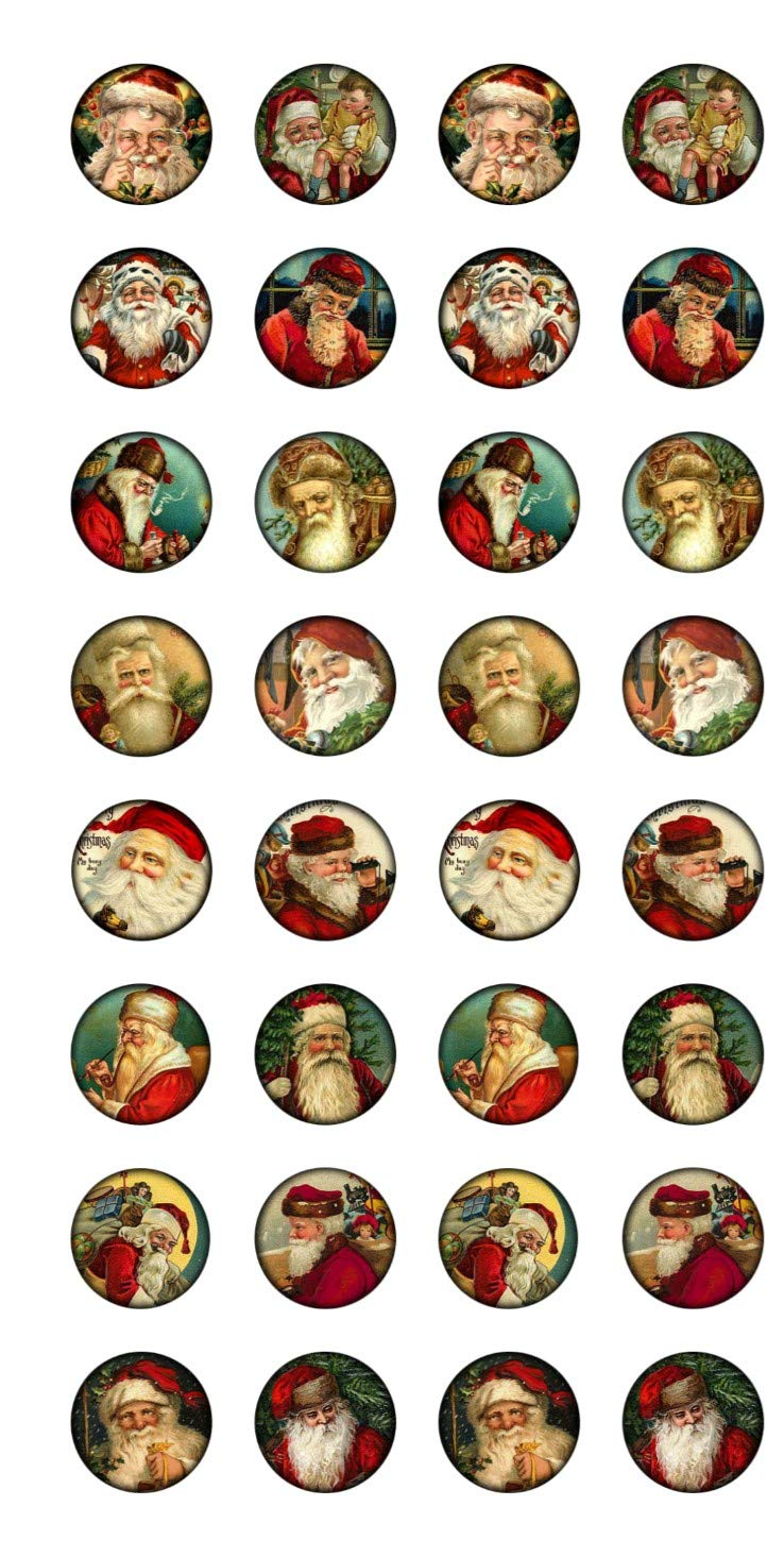 Christmas 32 1 Round Glossy Sticker Cut Out Peel and Stick