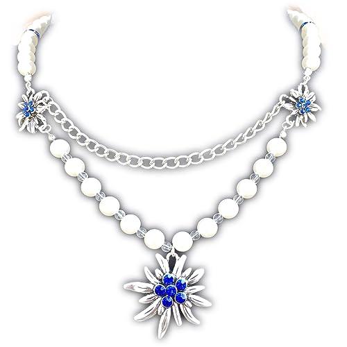 Trachtenkette Edelweiss Collier XXL Kette zum Dirndl von Herzensschatz blau