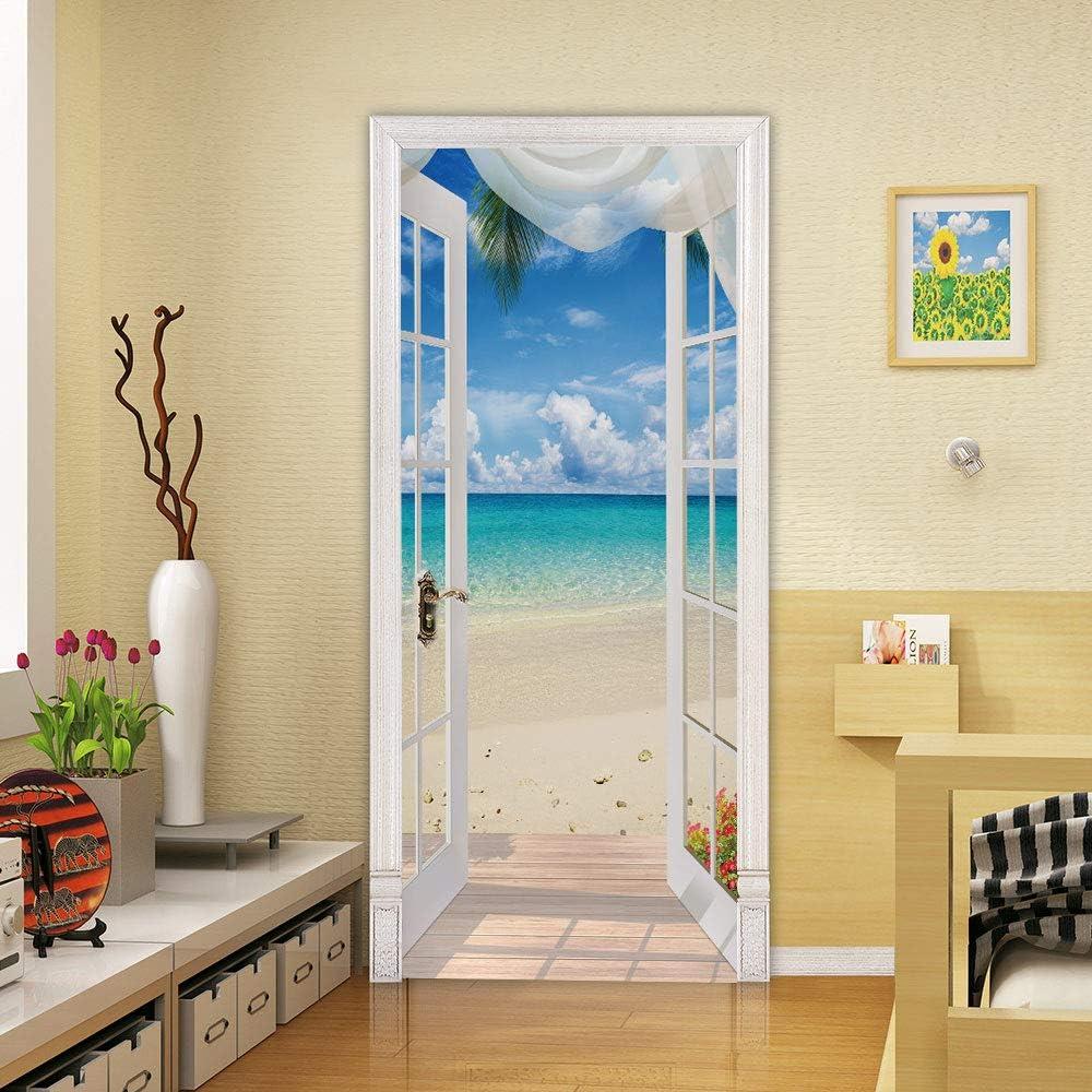 ColorSpring 3D Beach Door Decal Door Stickers Decor Door Mural Removable Vinyl Door Wallpaper. (365-BU)