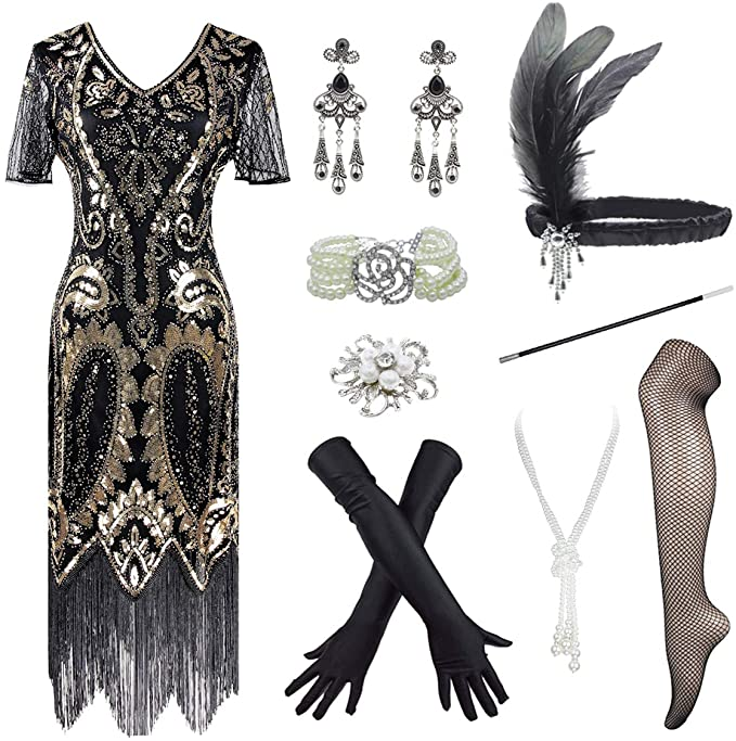 Roaring 20s Costumes- Flapper Costumes, Gangster Costumes 1920s Vintage Sequin Embellished Fringe Paisley Gatsby Plus Dress w/ 20s Accessories  AT vintagedancer.com