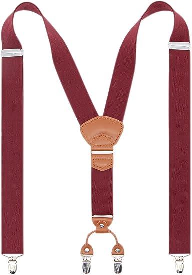 NEW Burgundy Maroon Brace Clip on Elastic Adjustable SUSPENDERS  USA SELLER