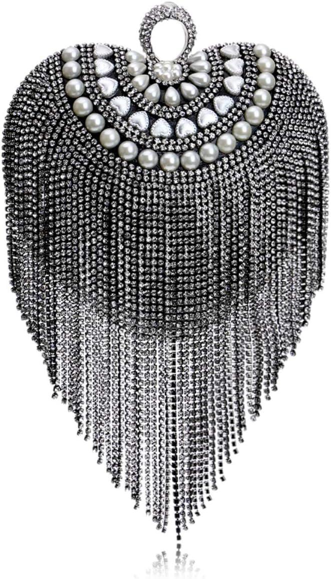 MKHDD Tassel Rhinestones Women Evening Bags Diamonds Beaded Wedding Lady Handbags Small Purse Messenger Evening Bag