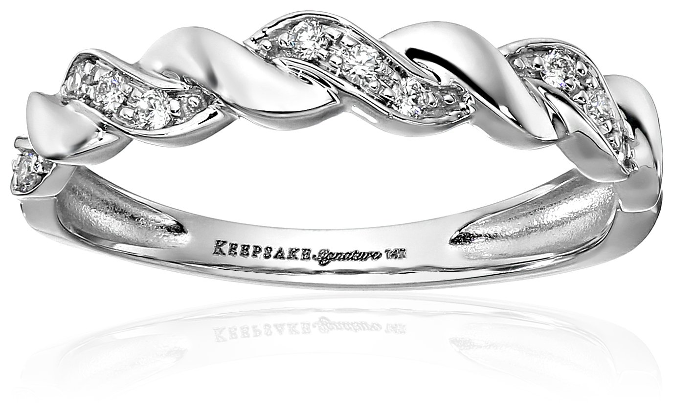 Keepsake Signature 14k White Gold Diamond Anniversary Stackable Ring (1/10cttw, H-I Color, I1 Clarity), Size 6