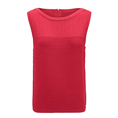 Alcea Rosea Women's Striped Tank top Ribbed Jacquard Tank Sleeveless Round Neck Pullover Basic Tunic Tops Tanks Vest at Women's Clothing store