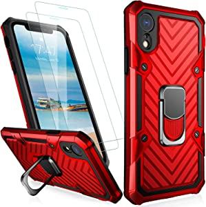 MERRO iPhone X Case,iPhone Xs Case with Screen Protector[2 Pack],Pass 16ft. Drop Tested Military Grade Shockproof Cover with Kickstand,Protective Phone Case for Apple iPhone X/iPhone Xs Red