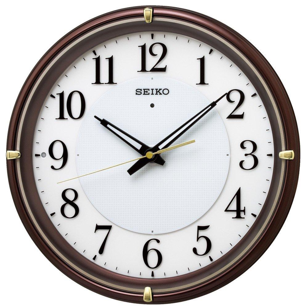 セイコー クロック 掛け時計 自動点灯 電波 アナログ 夜でも見える ファインライト NEO ネオ 茶 メタリック KX233B SEIKO B076RPS63D茶メタリック