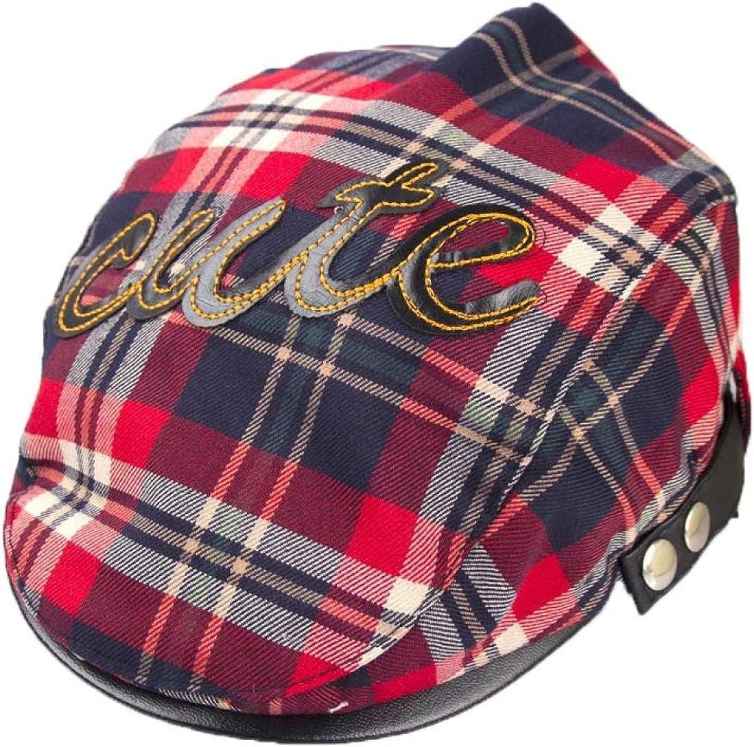 Koly Baby Infant Toddler Plaid Beret Cap Cabbie Casquette Flat Peaked Hat
