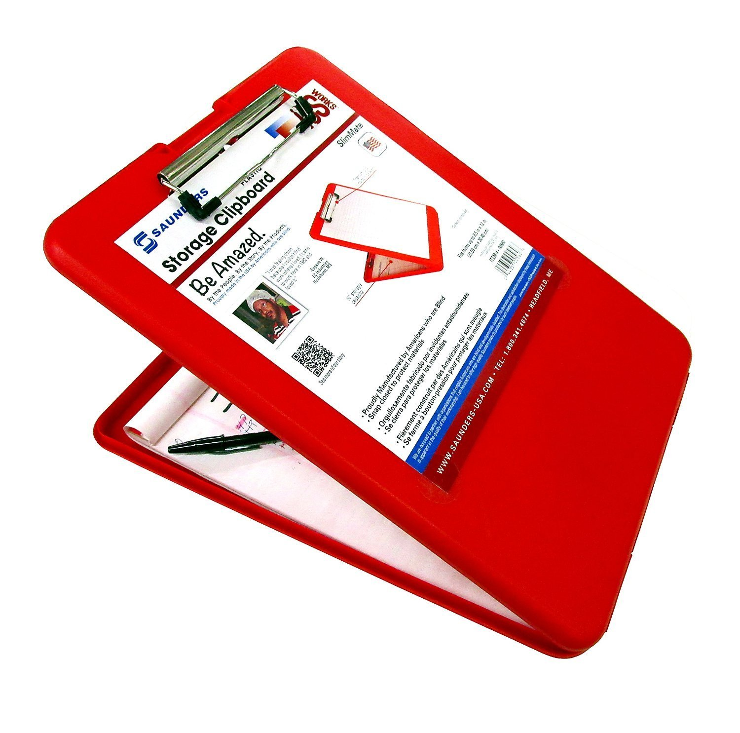 Saunders SlimMate Plastic Storage Clipboard, 00560, Letter Size (8.5 inch x 12 inch), Red