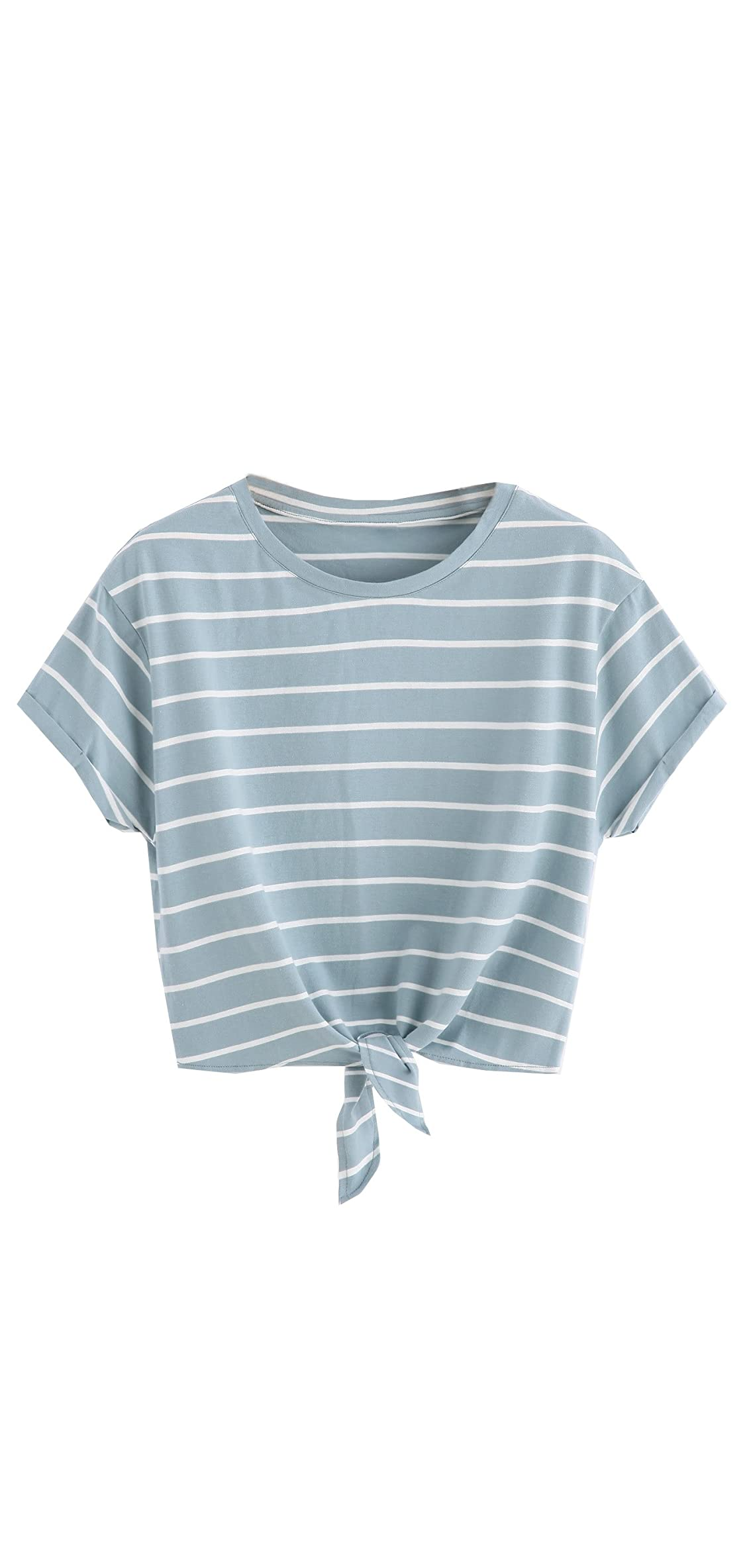 Women's Knot Front Cuffed Sleeve Striped Crop Top Tee