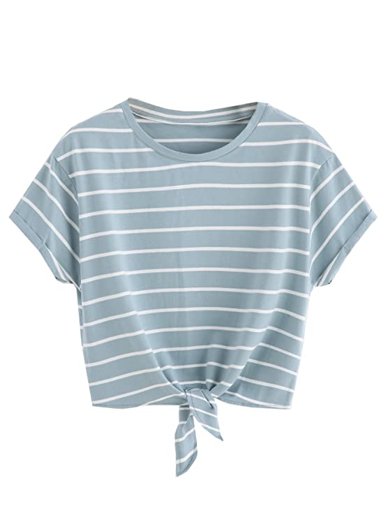 Romwe Women's Knot Front Cuffed Sleeve Striped Crop Top Tee T-Shirt , Burgundy & White, Small / US 0-2