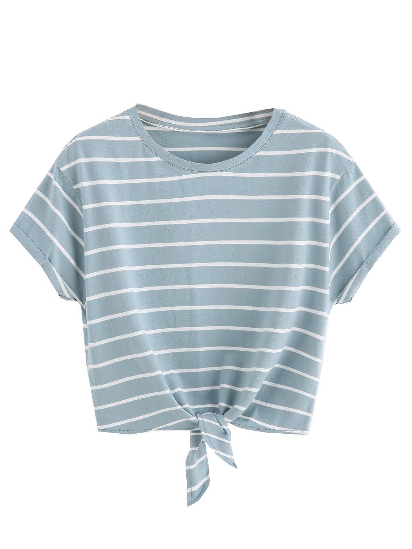 ROMWE Damen Gestreift Crop Top Kurzarm Streifen Shirt