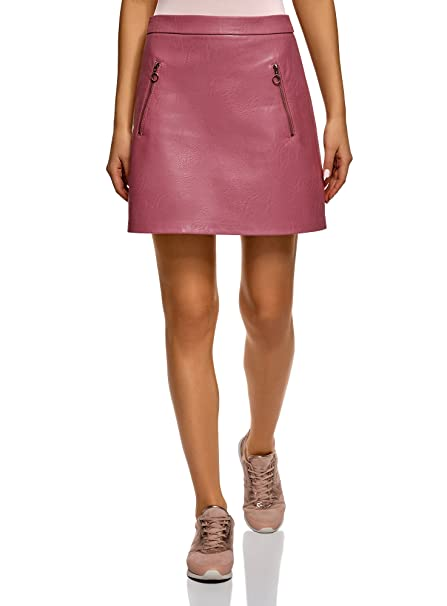 2058995a9 oodji Ultra Women's Faux Leather Skirt with Decorative Zippers, Pink, ...