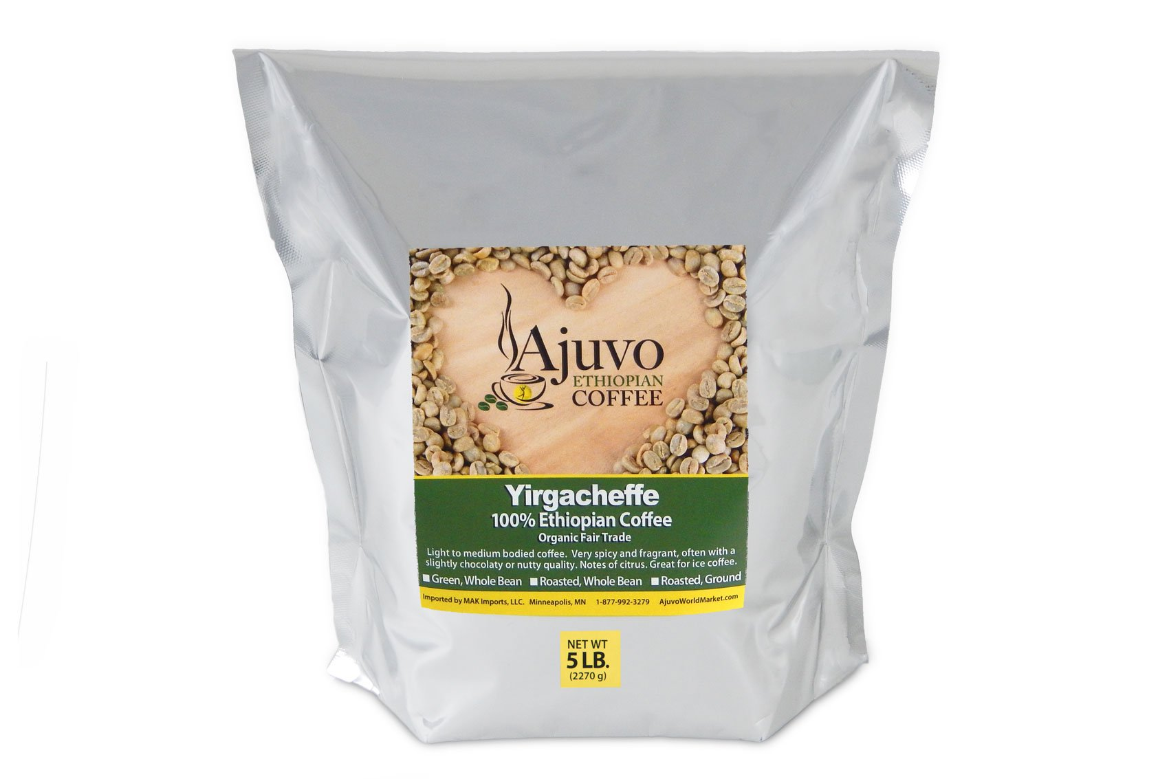 Ajuvo World Market Ethiopian Yirgacheffe Coffee - Green, Whole Bean (5lb.) by Ajuvo World Market