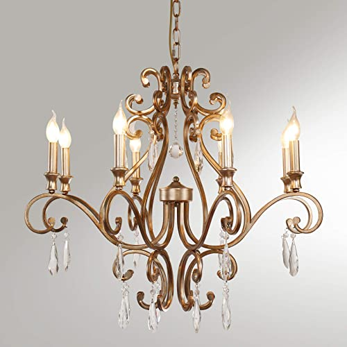 8-Light Rustic Crystal Raindrop Chandelier,Vintage Candle Style