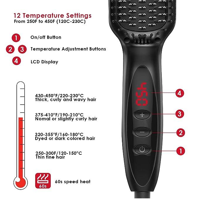 Cepillo alisador de cabello Anion, 12 ajustes de temperatura ...