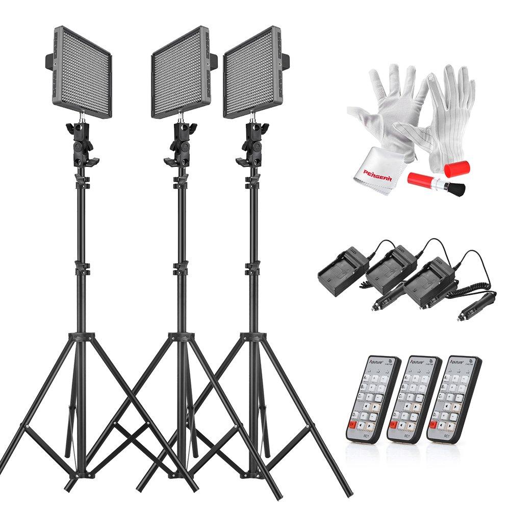 Aputure HR672KIT (HR672S * 2 + HR672W) 672 LEDビデオライト パネル LED スタジオライティングキット 2.4G FSK リモートコントロール & バッテリーパック付属   B011NNFIP4