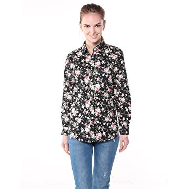 Dioufond Womens Casual Cotton Button Down Long Sleeve Floral ...