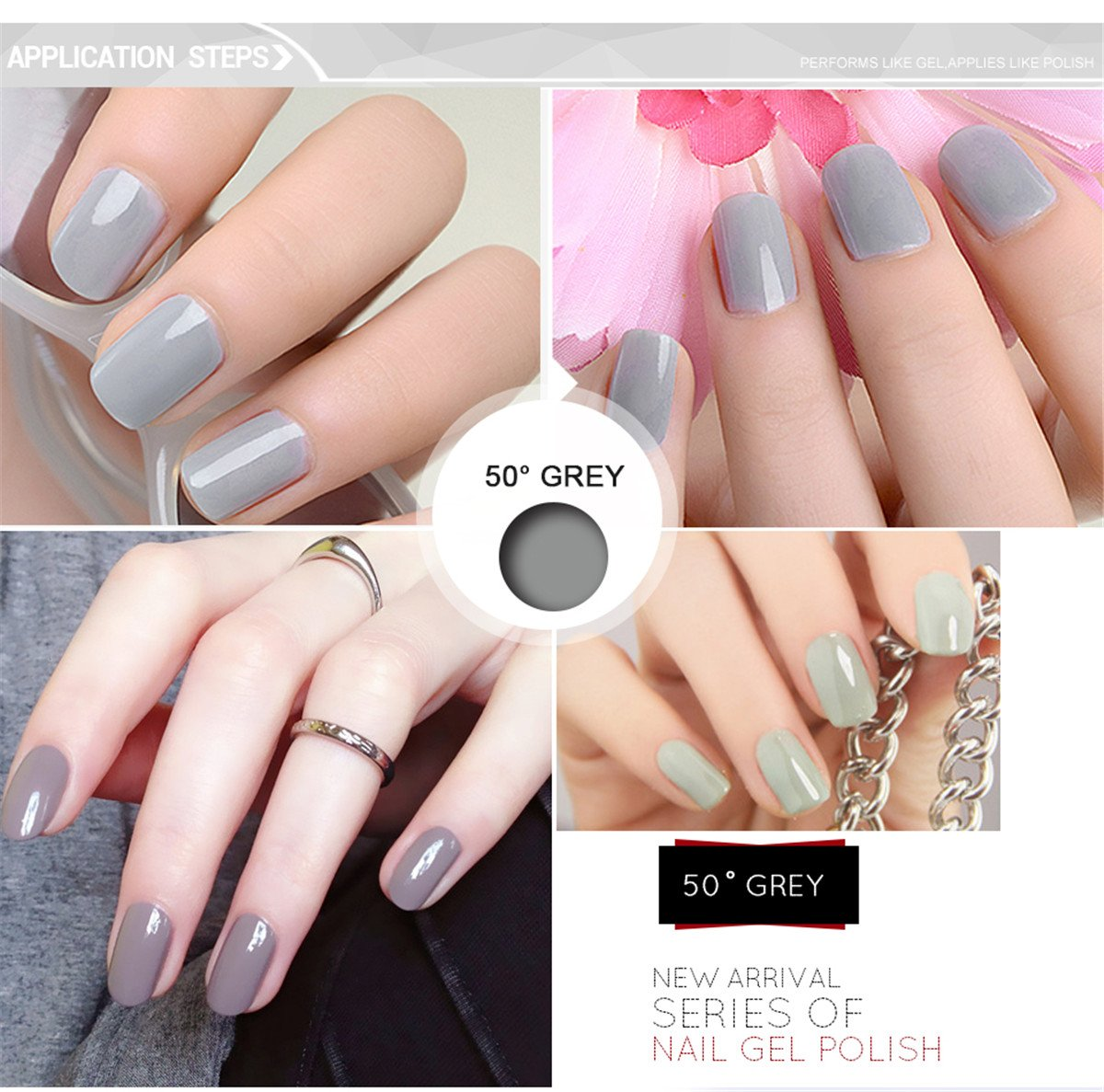 Amazon.com : Azure Beauty Gray Gel Nail Polish Require Soak Off UV ...