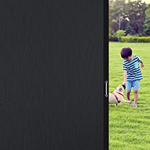 """Coavas Window Films Blackout Silk Privacy Static Cling Glass Sticker, Total Cover for Kids Room, Darkening Window Tint 100% Light Blocking for Day Sleep, No Glue Baby Nap Security (Black, 17.7""""x78.7"""")"""
