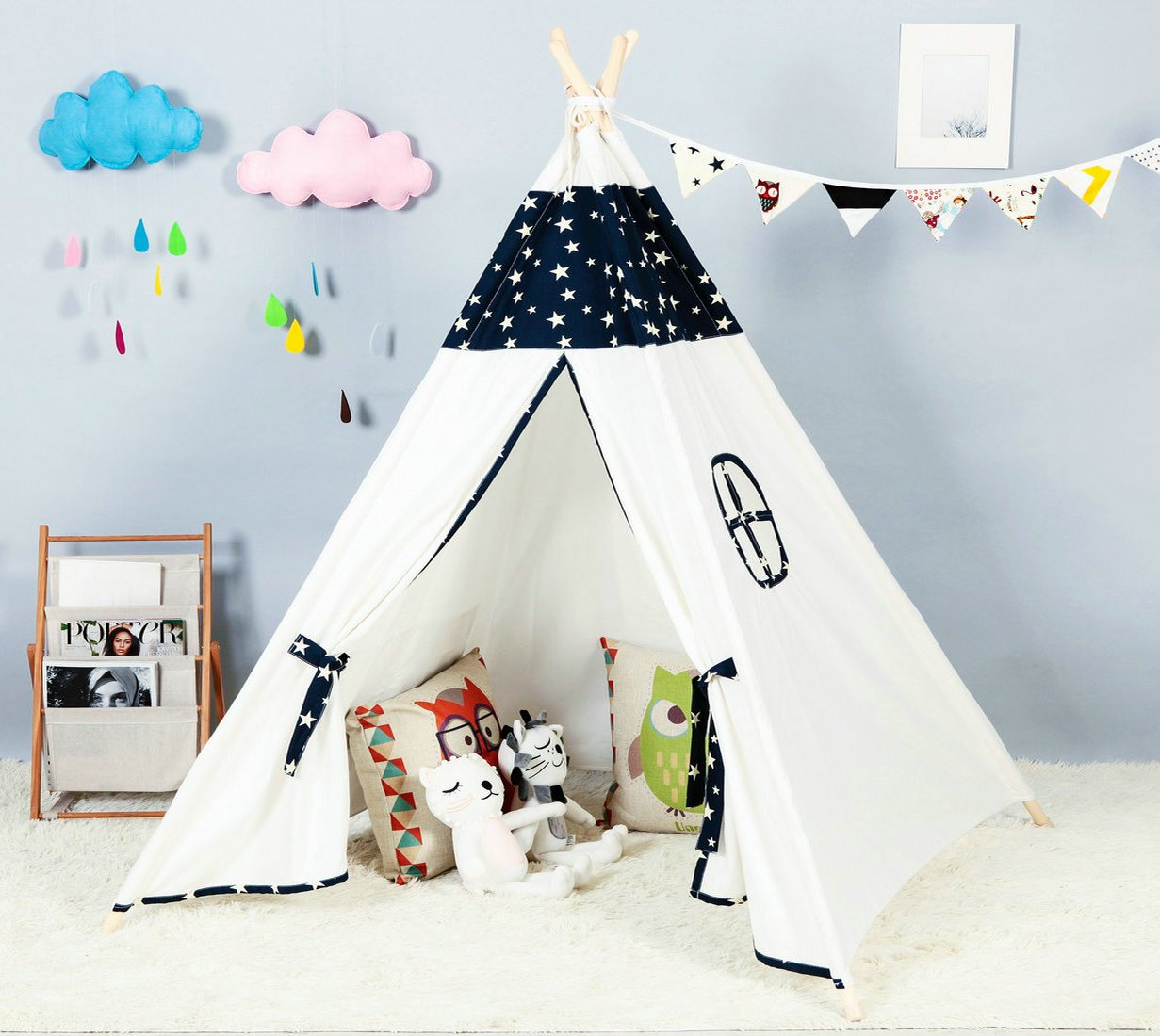 Amazon.com: Steegic Kids Teepee Indoor Play Tent - Large Cotton Canvas Children Indian Tipi Playhouse with Carry Case (Navy Star): Toys & Games