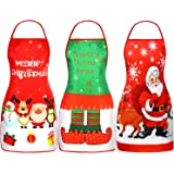 3 Pieces Christmas Aprons Adult Elf Aprons Santa Apron Adjustable Kitchen Cooking Apron for Christmas Party Chef Cooking…