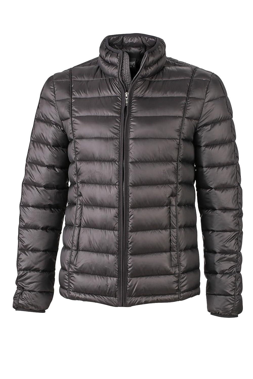 Herren Daunen Jacke mit kontrastfarbigen Einfassungen Winterjacke   JN1082, Größe S;Farbe schwarz schwarz