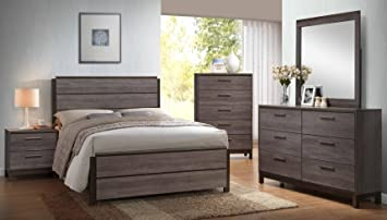 Amazon Com Kings Brand 6 Piece Antique Grey Wood Queen Size