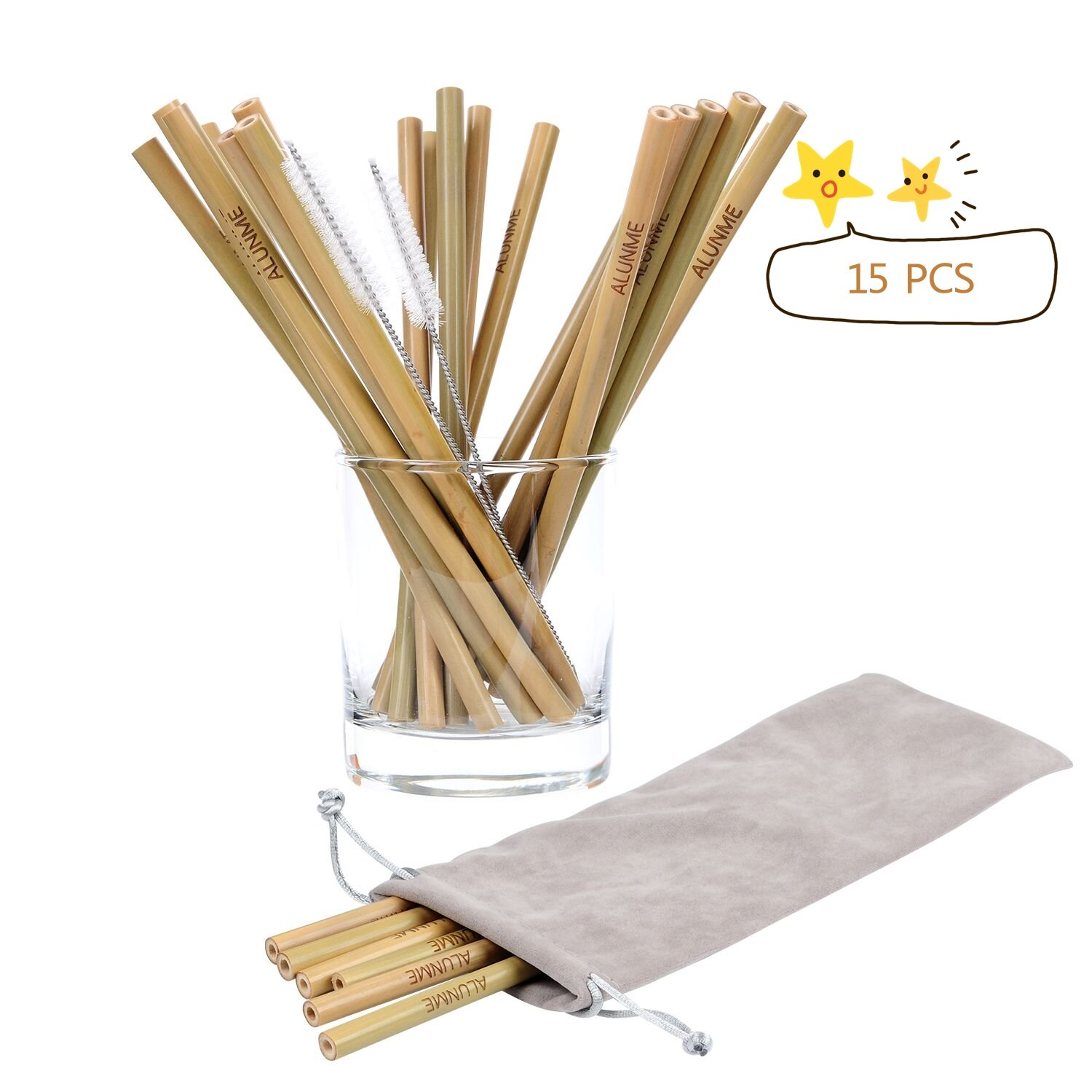 ALUNME Natural Organic Bamboo Straws, Set of 15 8 Inch Reusable Bamboo Drinking Straws with 2 Brushes and Carry Bag,BPA Free Sustainable Straws Alternative Plastic Kids Straw