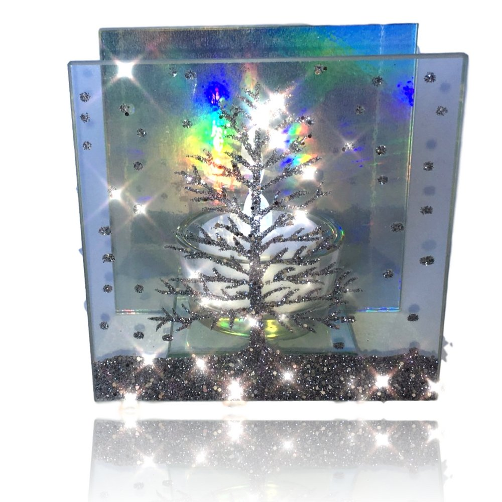 Christmas Candle – Glass Candleholder with a Glittery Xmas Tree Design - Aurora Borealis Reflected in Background - LED Tealight Included by Banberry Designs