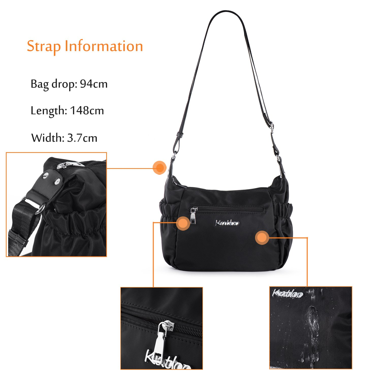 Bolsos Bandolera Mujer Impermeable Bolsa de Hombro de Nylon Messenger Bag Bolso de Moda Bolsas de Mensajero de Ocio Viaje Deportivos Katloo (Negro): ...
