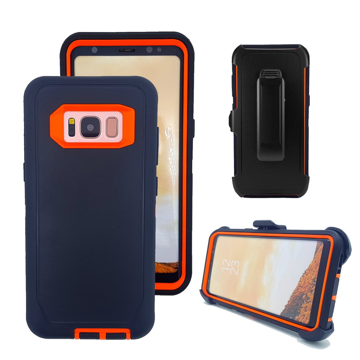 Galaxy S8 Case, Harsel Triple Layer Defender Series Heavy Duty High Impact Tough Rugged Scratch Resistant Military Protection Shockproof Case with Belt Clip Case Shell for Galaxy S8 (Black Orange)