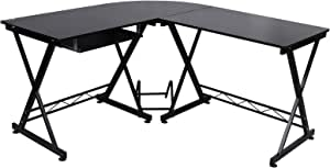 SONGMICS Corner Desk, L-Shaped Computer Desk, for Home Office Study and Games, Space Saving, Easy Assembly, 150 x 138 x 75 cm, Black LCD402B