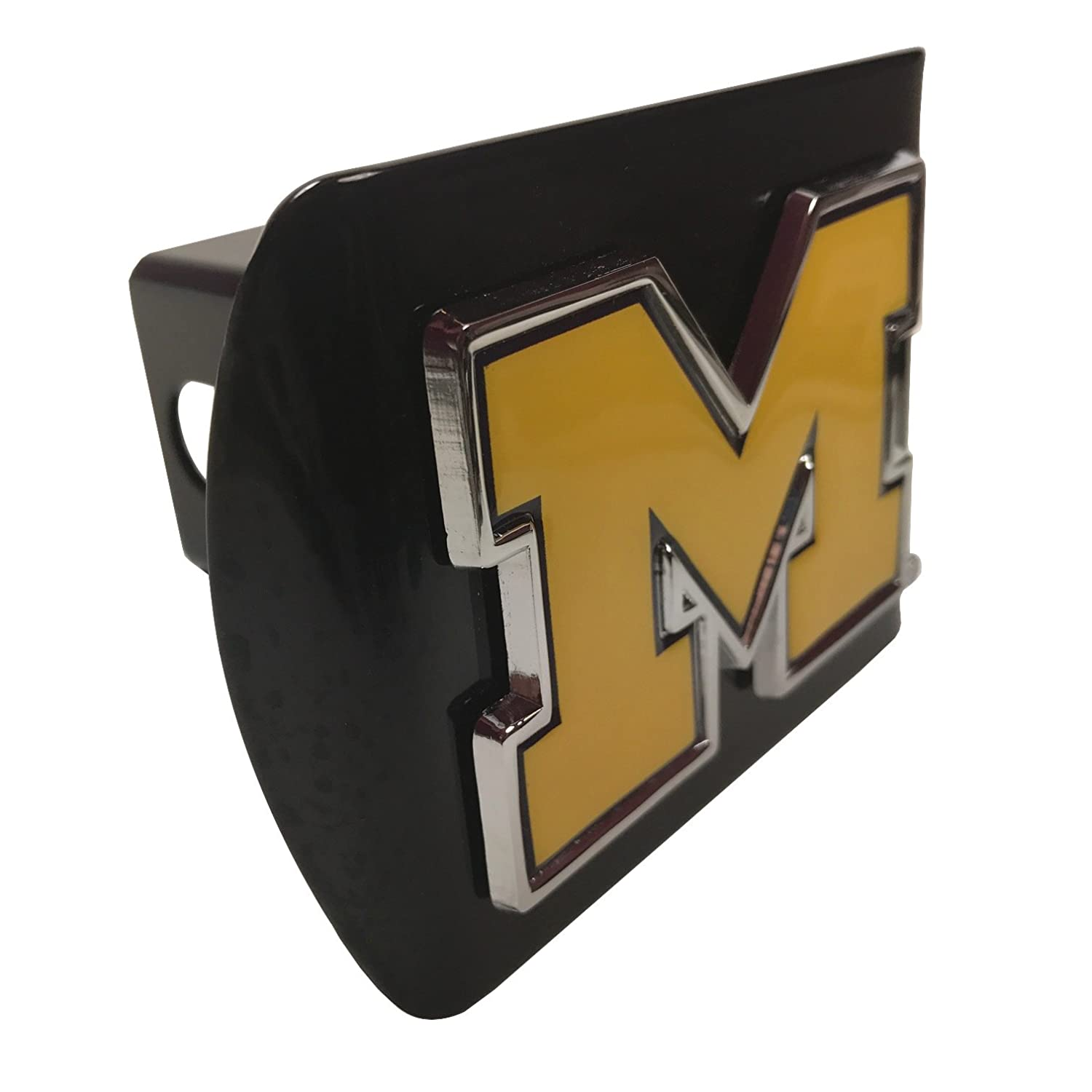AMG University of Michigan Domed Yellow Metal M on Black Metal Hitch Cover