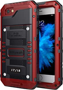 Mitywah Waterproof Case Compatible with iPhone 7 / iPhone 8 Heavy Duty Durable Metal Full Body Protective Case Built-in Screen Protection Shockproof Dustproof Rugged Military Grade Defender, Red