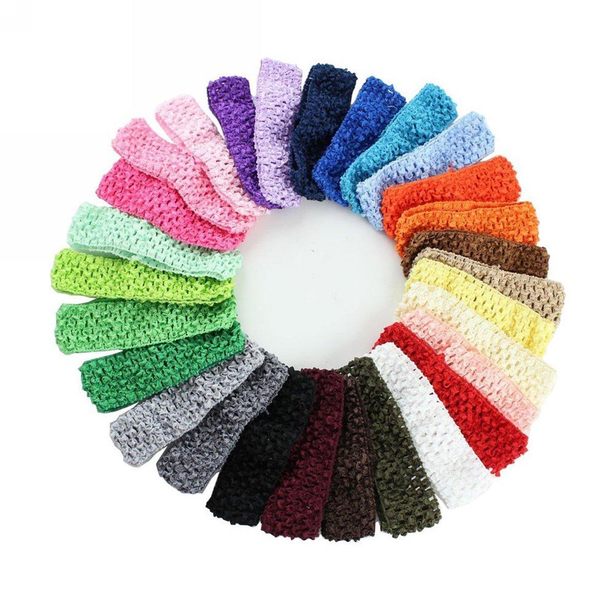 WINOMO 24pcs Crochet élastique serre-têtes bandeaux élastiques à cheveux pour bébé filles tout-petit