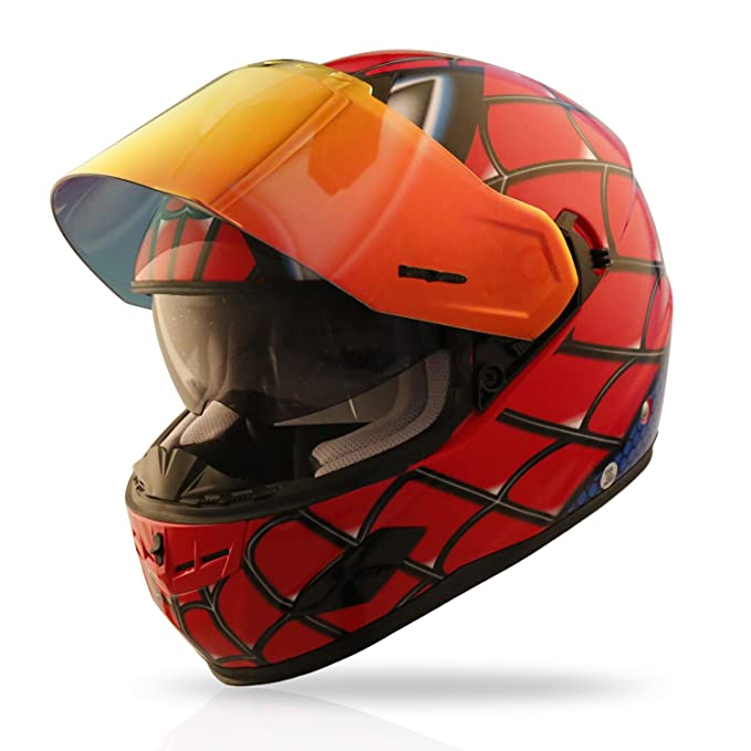 Amazon.com: NENKI NK-856 Full Face Spiderman Motorcycle Helmet For Adult and Youth Street Bike with Iridium Red Visor and Sun Shield DOT Approved (X-Large, ...